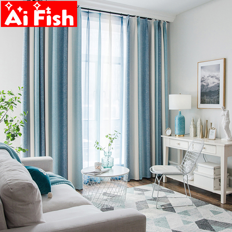 US $9.51 33% OFF|Stripe Mediterranean Blue Curtains for Living Room Tulle  Bedroom Cotton Linen Semi shade Custom Window Curtain Finished wp109 3-in  ...