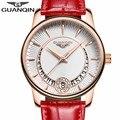 GUANQIN Женщины Часы Мода Повседневная Кварцевые Женщины Часы Браслет Часы Дамы Кожа Роскошные Ювелирные Часы relogio feminino