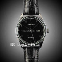 43mm Parnis Black Dial Seagull 2551 Movement Automatic Mens Watch P155