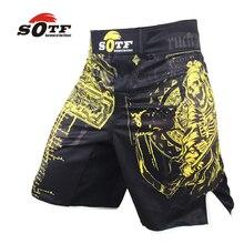 SOTF yellow Azrael breathable sports fitness mma fighting boxing shorts Tiger muay thai boxing shorts mma