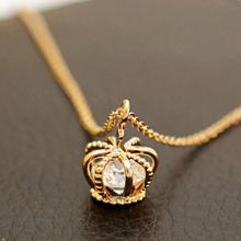 Silver Gold Trendy Crown Pendant Necklace