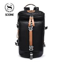 c3dab0f224315 Scione Unisex PU Oxford Black Travel Backpacks Fashion Simple Large Luggage  Shoulder Bags Leisure Trip Duffel