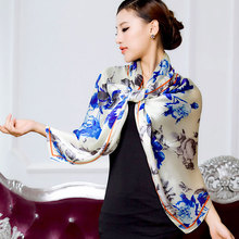 2016 spring new 100% real silk Scarf women  Shawl Female fashion Scarves georgette satin long design floral size 180x70CM
