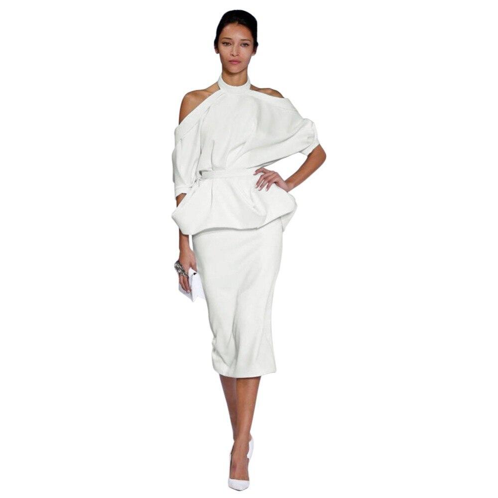 Women White 2017 Summer Work Dresses Sexy Off Shoulder Halter Short Sleeve Women Pencil Dress Sexy Club Bodycon Party Dresses