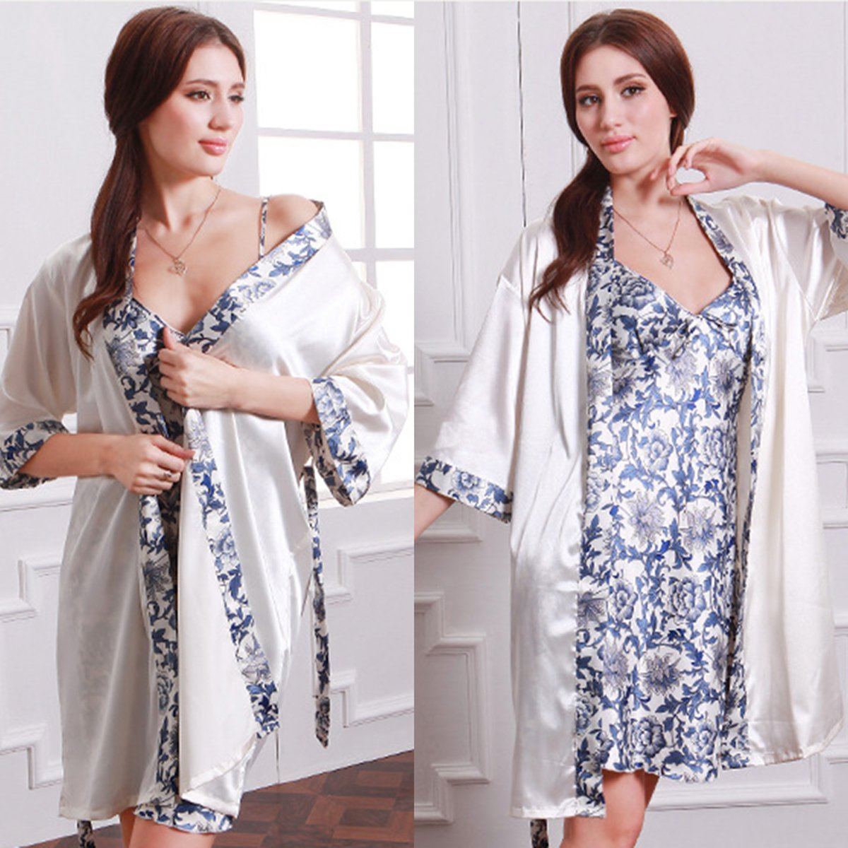 Summer Luxury Women Sleepwear Faux Silk Sleepwear Robe Gown Sets Chinese  Porcelain Nightdress Floral Print Bathrobe 2 pcs Set d4482d2b7