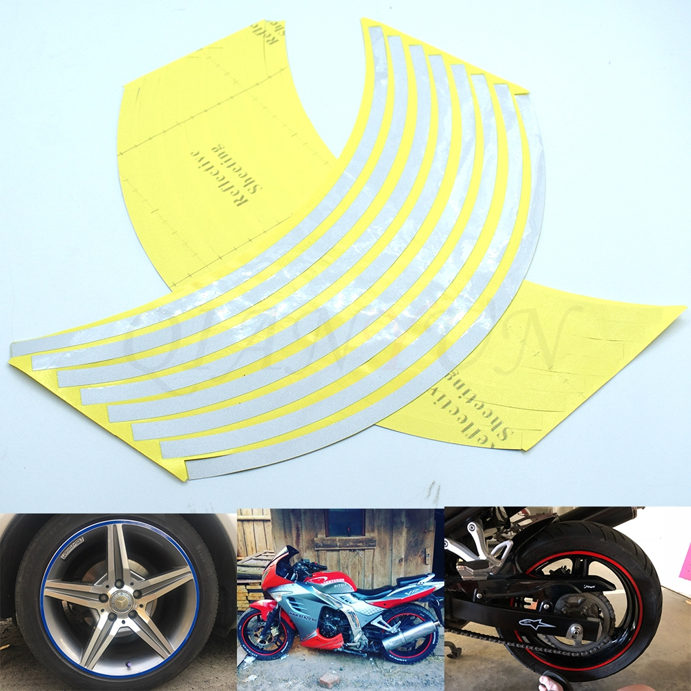 16 Strips Motorcycle Wheel Reflective Stickers Car Rim Stripe Wheel Decal Tape For 17' 18'inch Motorcycle Scooter Wheel Rim