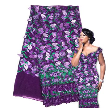 2019 African 3D Lace Fabrics Latest Style African Lace Ribbon Embroidered Tissue purple Lace African Dress For Women AMZ030