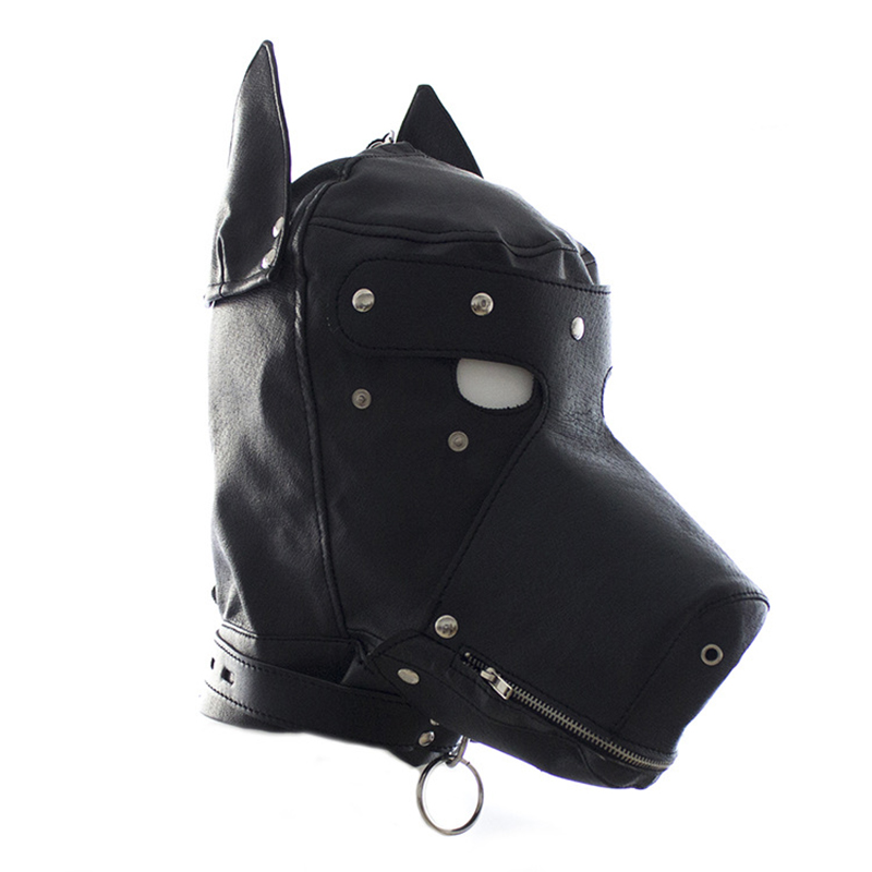 BDSM Bondage SM Restraints Fetish PU Leather Hood Mask Head Harness Slave Collar Leash Gag Chastity Adult Sex Toys For Couple