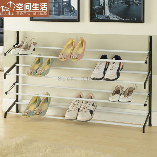 Attractive Simple Retractable Carbon Steel Iron Shoe Hanger 114cm Shoe Rack Wire Shoe  Shelf