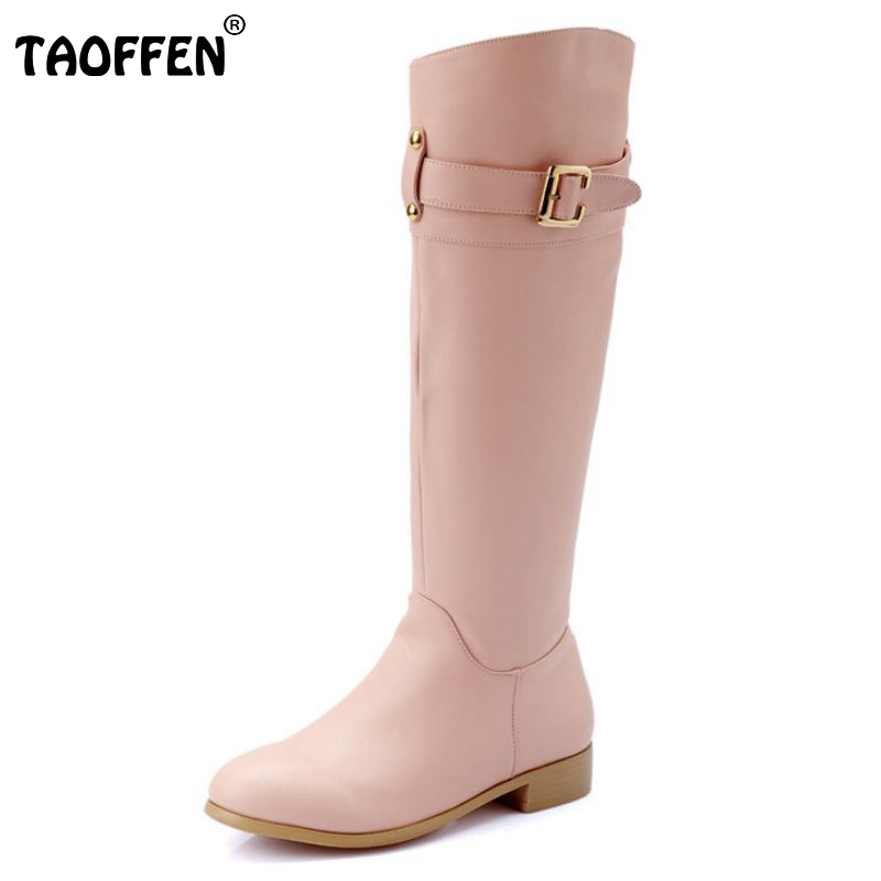 ФОТО Women Real Genuine Leather Knee Boots Woman Buckle Style Winter Warm Botas Classical Riding Equestrian Boot Size 34-43