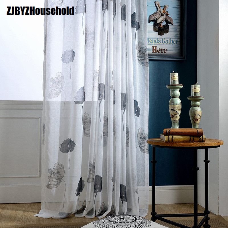 Simple Colour Lotus Leaf Printing  Curtains For Living Dining Room Bedroom