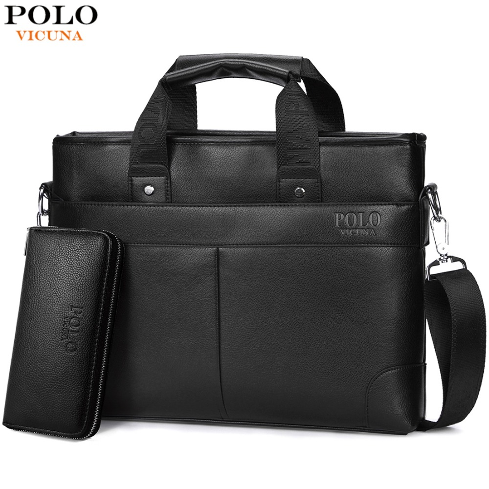 d93493973 VICUNA POLO Promotion High Quality PU Leather Brand Mens Briefcase Classic Business  Leather Men Handbags maletin cuero male