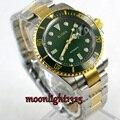 Позолоченные BLIGER 40 мм зеленый циферблат сапфировое стекло зеленый керамический ободок автоматическое движение Мужские часы