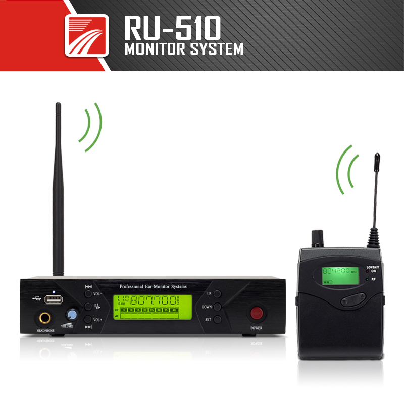 RU-510 Monitoring System Wireless in ear Monitor Professional for Stage Performance
