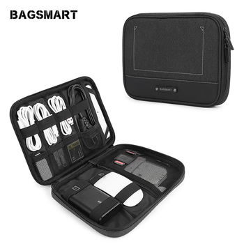 BAGSMART New Travel Electronic Accessories Organizer Portable Bags For USB Cables Waterproof Storage Bags for Ipad Mouse Charger bagsmart 17 travel bags for clothes