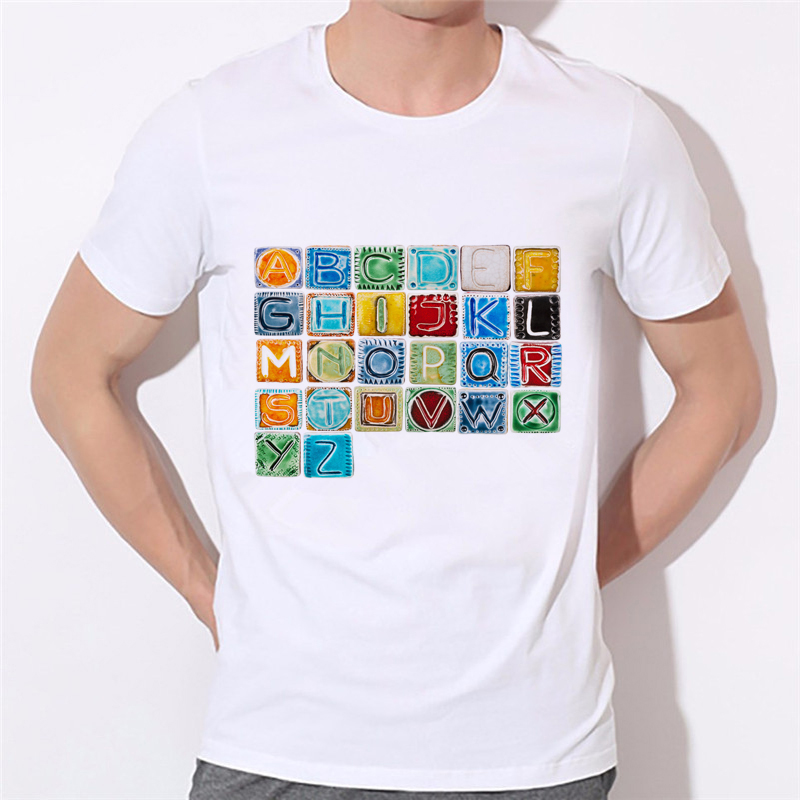 New Fashion Men hip hop Street T Shirts Painted graffiti Short Sleeve Printed Letters T-Shirt Boy Retro Flower Tops Tee 52-5#