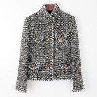 GAMA ALTA personalización escudo invierno de las mujeres, Delgado elegante chaqueta del otoño, capas básicas de las mujeres, tweed jaqueta, más tamaño XS 6xl