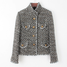 High finish customization ladies winter coat,elegant slim autumn jacket,ladies fundamental coats,tweed jaqueta feminina,plus dimension xs 6xl