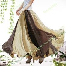 Maxi tulle skirt / Bohemian Stripe Irregular fashion Casual Sandy beach jupe Long summer Skirt long