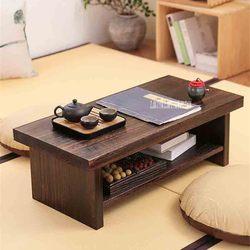 Nueva Tatami pequeña mesa de centro estilo japonés madera sólida antigua mesa de té rectángulo mesa de salón de la computadora mesa de té de madera