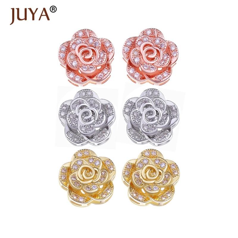 Micro Pave Zircon Rhinestone ziedu krelles 10mm / 12mm zelta sudraba rožu zelta krāsa CZ šarmu atstarpes pērles rotaslietas izgatavošanai