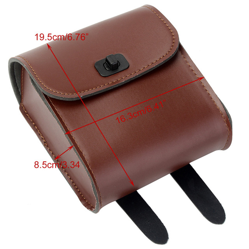1Pc Brown Motorcycle Bike Front Tool Bag Synthetic Leather Luggage Saddle Bag For Honda D35 Accessories