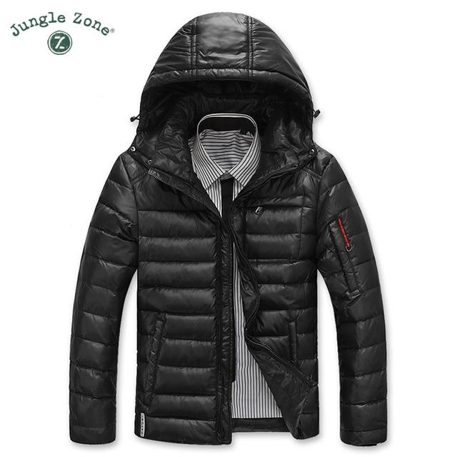 JUNGLE ZONE Warm herren daunenjacke freizeit mantel schnee mantel mantel  kapuze winter weiße ente unten blau 05c1e30740