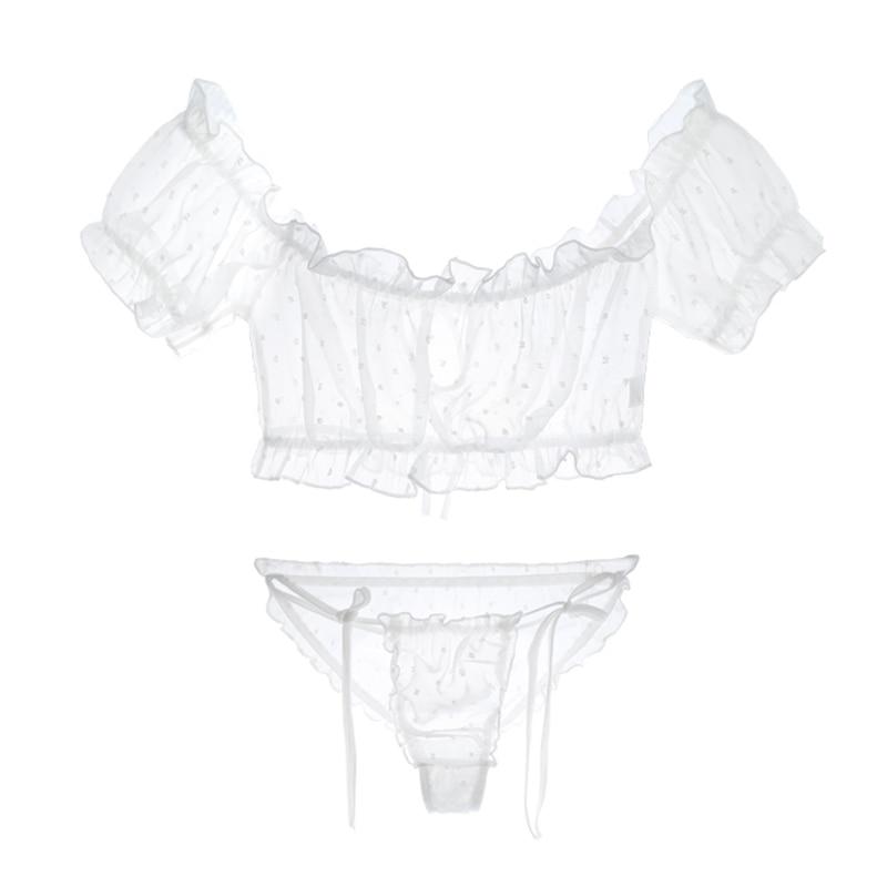 Yhotmeng2019 new sexy perspective chiffon dot cute pajamas set women adjustable underwear black and white