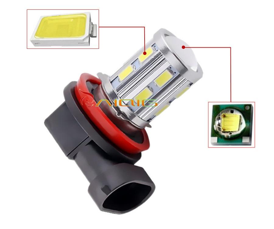 H11 Led Yüksək Güclü 12 SMD 5730 5W Cree çipləri LED Ksenon ağ - Avtomobil işıqları - Fotoqrafiya 3