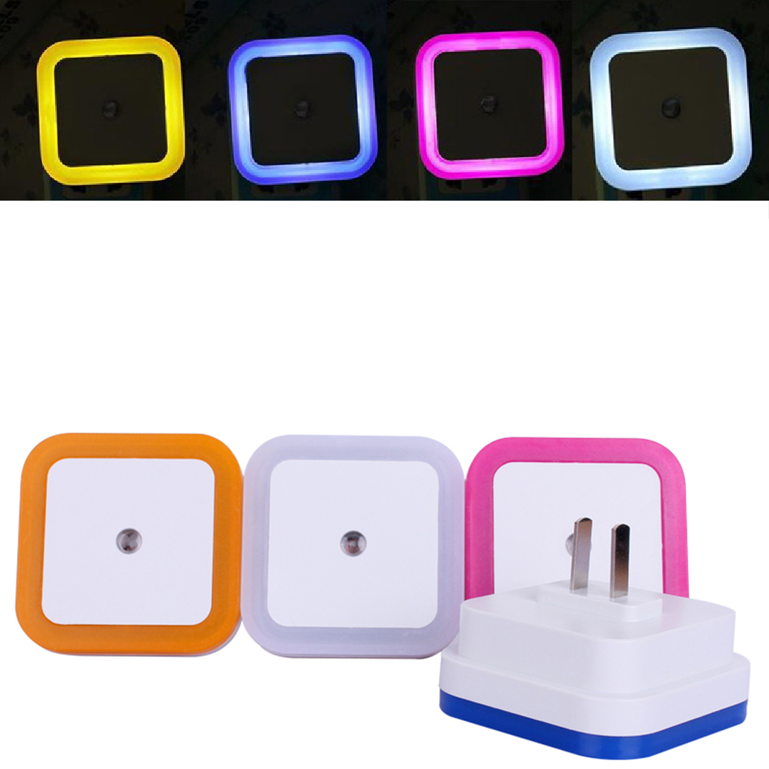 AC110-220V US  Plug Mini LED Night Light Control Auto Sensor Baby Bedroom Lamp Squar LED Night Light For Baby