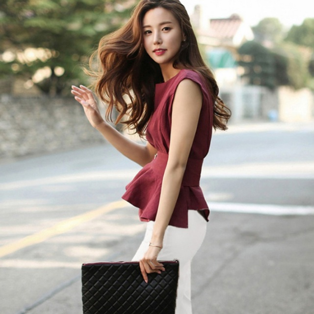 High Quality Women Shirts O-neck Sleeveless Belted Peplum Blouse Elegant Chic Red Summer Tank Top Femme