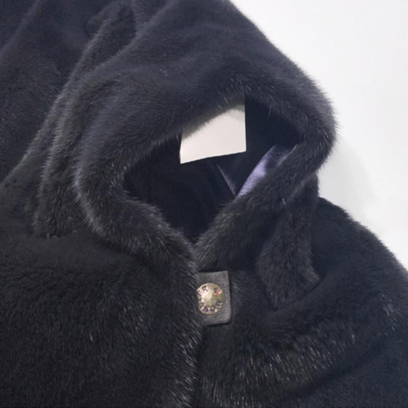 Poches Manches Vison Lvchi De Femmes souris Perte Manteau Chauve Col D'importation Beige Quarts Manteaux Royal 2019 Hiver Trois Mandarin Fourrure bleu qrXwIOvFq