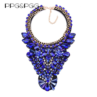 PPG PGG Full Glass Crystal Fower Choker Collar Leather Designs Chunky Statement Necklace