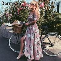 BerryGo Off Shoulder Summer Style Long Dress Women Split Smocking Print Maxi Dress Elegant Boho Chiffon