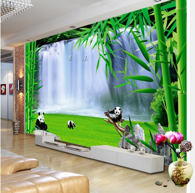 3d wallpaper fashion 3d mural hd bamboo panda for tv sofa for Bamboo mural wallpaper