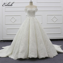 Eslieb 2019 Weg Von der schulter ballkleid Hochzeit Kleid Kleider Elfenbein Luxuriöse Saudi arabien Hochzeit Kleider Robe de mariee SJ008