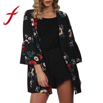 Feitong Women Floral Printed Kimono Cardigan Womens Open Front Casual Chiffon Blouses Flare Sleeve Cardigan blusa feminina 2018 cardigan
