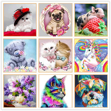 Diamond Cross Stitch / Animal Flower Round Diamond Sticker 5D DIY Diamond Embroidery / Home Decor