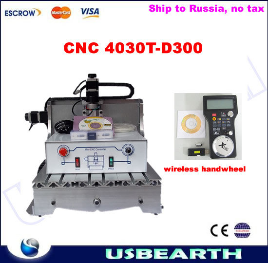 CNC router 3040T-D 300W spindle CNC machine for wood carving, with wireless handwheel,No tax to Russia cnc router 3020z d 300w spindle 3 or 4axis cnc cutting machine