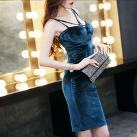 Vintage Blue Flannel Spaghetti Bodycon Dress 2019 Women Summer Lace Sleeveless Party Sexy Short Dress Vestidos