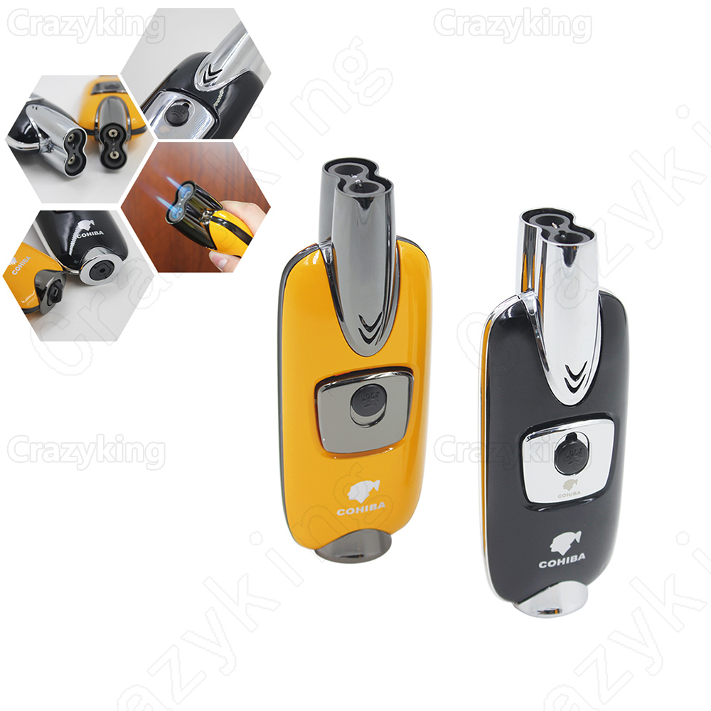 Europe Buyer New Arrived COHIBA Alloy Fashion Car Keys Style 2 Torch Jet Flame Cigar