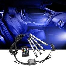 RGB светодиодные полосы света автомобиля атмосфера лампа с пультом дистанционного управления авто украшения Звук управление Музыка Ритм свет автомобиль-Стайлинг