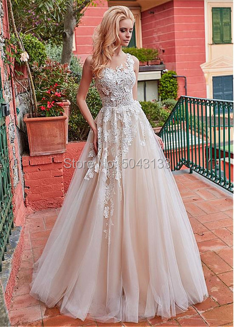 Image 3 - Classic Lace Applique A Line Wedding Dresses 2020 Floor Length Vestido Noiva Sheer O Neck Sleeveless Wedding Dress Bridal Gowns-in Wedding Dresses from Weddings & Events