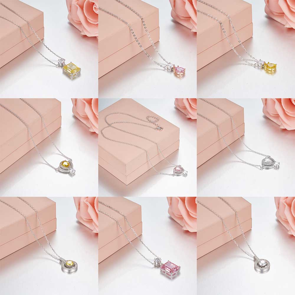 Tiff 100% 925 Sterling Silver Multicolor Gems Fashion Trends Necklaces Lock Pendant Girls Birthday Gifts