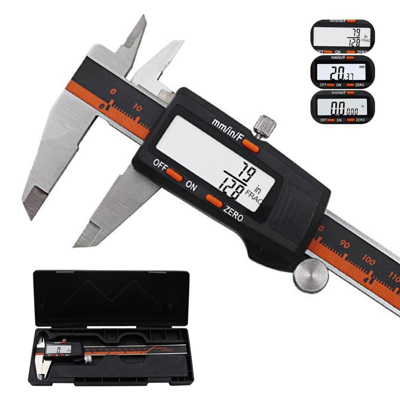 Acero inoxidable Digital de pantalla pinza 150 MM fracción/MM/pulgadas de alta precisión de acero inoxidable LCD Vernier pinza de herramientas
