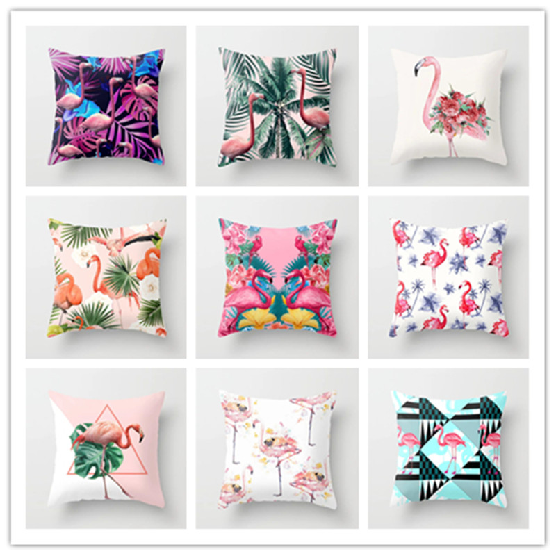 Summer Flamingo Cushion Cover 2019 New Style Throw Pillow Case Sofa Bed Home Decor Square Simple Fashion Pillow Cover in Cushion Cover from Home Garden