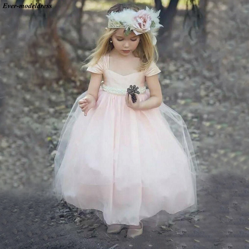 Lovely Tulle Ball Gowns   Flower     Girls     Dresses   Cap Short Sleeves Pearls Sash   Girls   Light Pink Pageant   Dresses   robe mariage fille