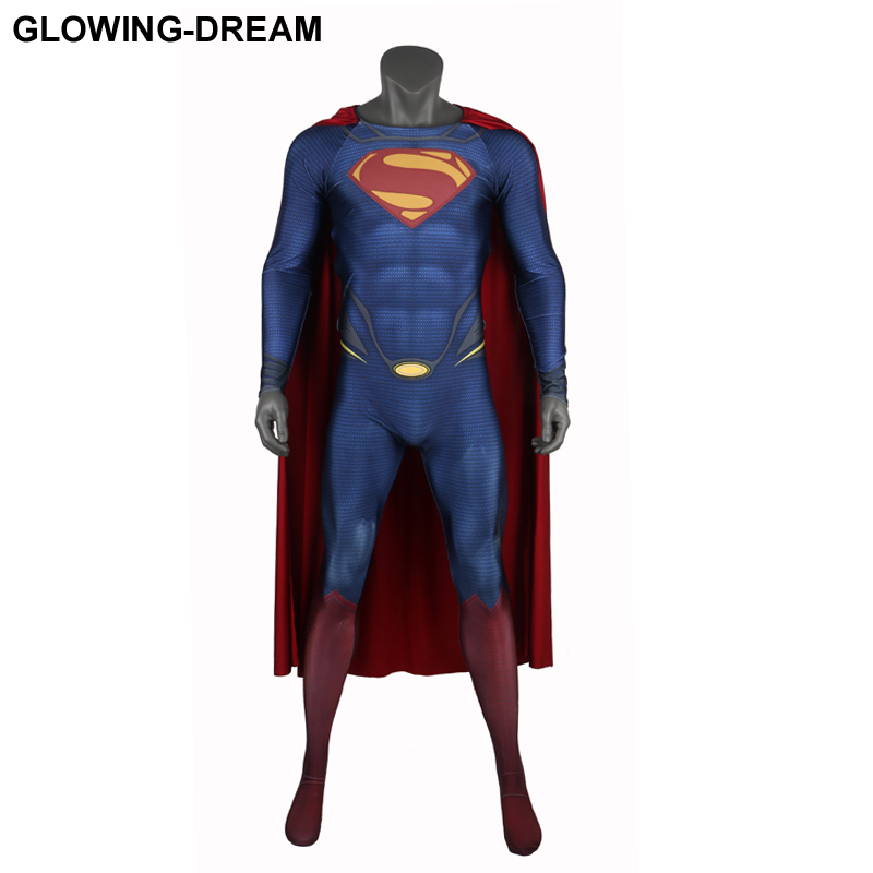 High Quality Man Of Steel Super Man Cosplay Costume With Cape Embossed Logo U-zipper New Superman Costume For Man Custom Made