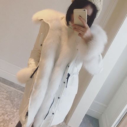 Luxury Real Fox Fur Parka For Women Winter 2016 Korean Fashion White Warm Down Coat XXL