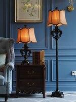 European Vintage Classical Floor Lamp Luxury Resin Bow Shape Fabric Floor Lamp Living Room Bedroom Stand Floor Light
